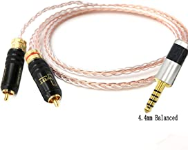 Haldaneaudio 4.4mm Balanced Male to 2 RCA Male 8cores Litz Braid 7N OCC Hybrid Silver Plated Cable HiFi Audio Adapter Cable (1m)
