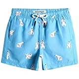 MaaMgic Costume da Bagno Pantaloncini da Bagno Estivi per Ragazzini Bambini Foderate in Rete Asciugatura Rapida Multi Colori, Orso Blu, 3 Anni