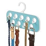 Mdesign percha para cinturones con 9 ganchos y 9 orificios – organizador de armario – útil como corbatero o como colgador de pañuelos y bisutería – blanco/turquesa