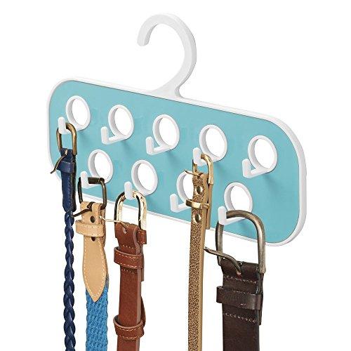 mDesign Gürtelhalter mit 9 Haken - praktische Aufbewahrung für Gürtel, Taschen etc. im Kleiderschrank - auch zum Ketten aufhängen - weiß/blaugrün