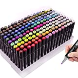 TouchNew - Rotuladores de color negro, 168 colores, marcadores artísticos de doble punta permanente para adultos y niños