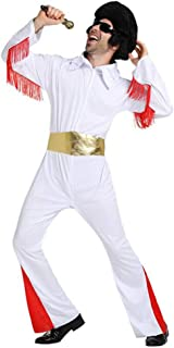 Dawnbright Men Elvis Costume Jumpsuit Elvis White Outfit 70s Costumes for Men Halloween Costumes