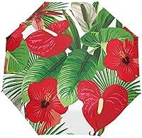 たっての熱帯の休暇ココナッツの葉花の防風旅行傘自動開閉3折りたたみ強力で耐久性のあるコンパクトな雨傘UV保護ポータブル軽量簡単持ち運び