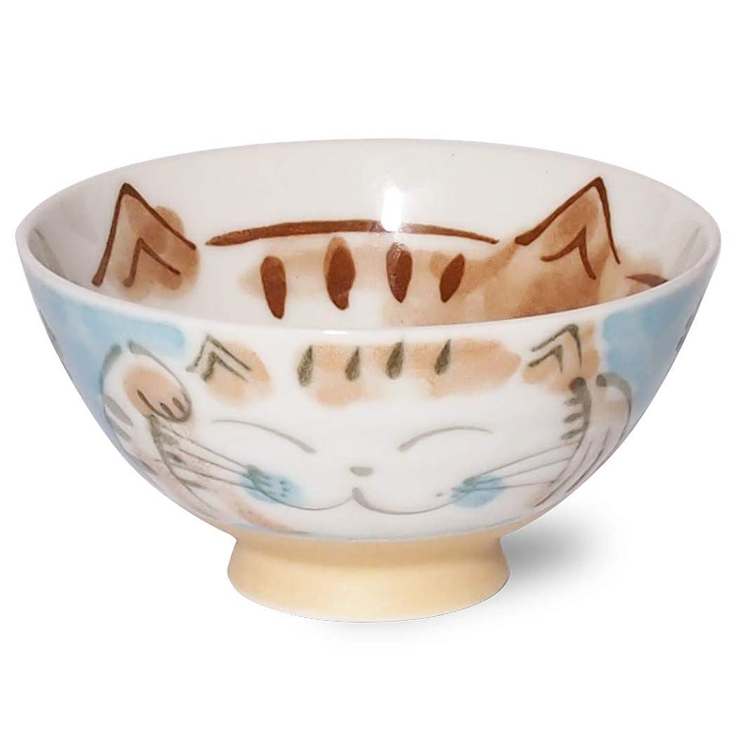 ロケーション目立つ中世のみのる陶器 福ねこ 深丸茶碗 水色