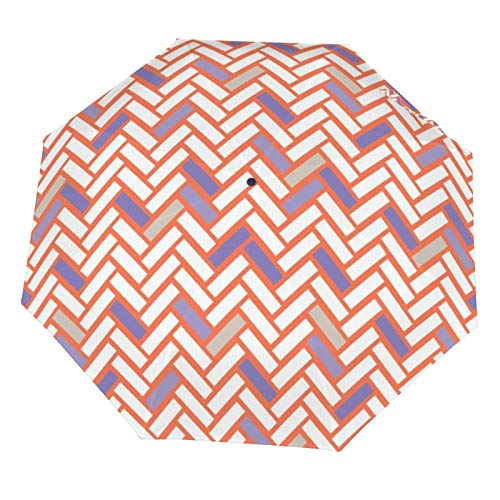 Parapluie manuel pliable, compact, léger, abstrait contemporain à chevrons rose résistant au soleil (intérieur en vinyle)
