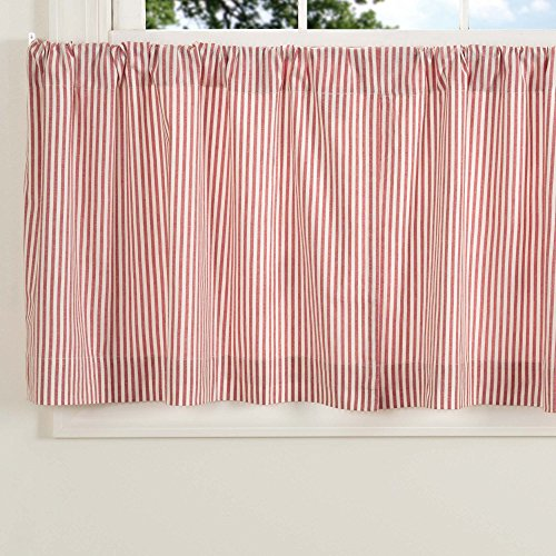 """Farmhouse Ticking Stripe Red Tiers, Set of 2, 24"""" Long, Café Curtains"""