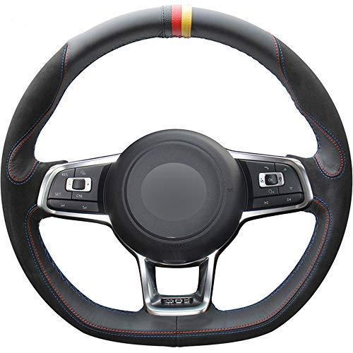 ZYTB Für Schwarzelenkradabdeckung für Volkswagen Golf 7 GTI Golf r mk7 vw Polo GTI Scirocco 2015 2016,Blue Thread