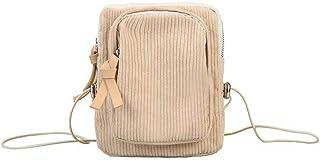 Ulisty Damen Klein Cord Quadratische Tasche Mini Gürteltasche Mode Schultertasche Retro Umhängetasche Handtasche Beige