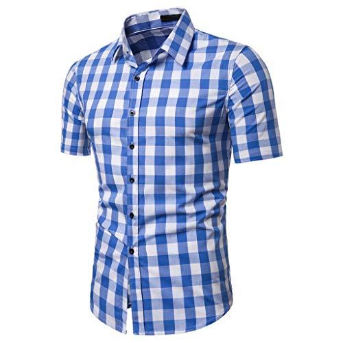 Camisa Hombres Empalme de Celosía Patrón Moda Casual Solapa Manga Corta Tops Type D