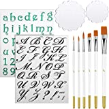 Package you'll receive: you will get 2 pieces letters and numbers clear stamps, 2 different sizes of acrylic stamping blocks, and 6 pieces cake brushes, the stamps includes uppercase and lowercase letters in calligraphy font, as well as numbers and c...
