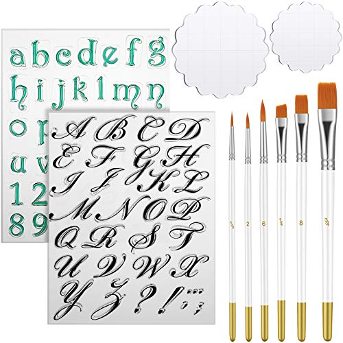 Alphabet Cake Stamp Tool Fondant Cake Cookie Biscuit Stamp Mold Set Letter Number Clear Stamps Cutter, 2 Acrylic Stamping Blocks, 6 Cake Brushes for Christmas Party DIY Baking