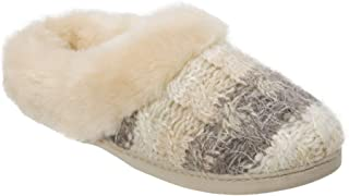 Dearfoams Womens Cable Sweater Knit Slippers with Faux Fur Cuff