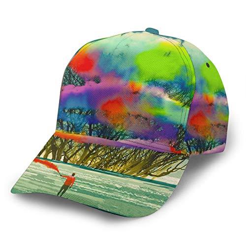 HARLEY BURTON Gorra de béisbol unisex con diseño abstracto impreso en todo el árbol colorido pintura ajustable empalme Hip Hop Cap sombrero de sol negro