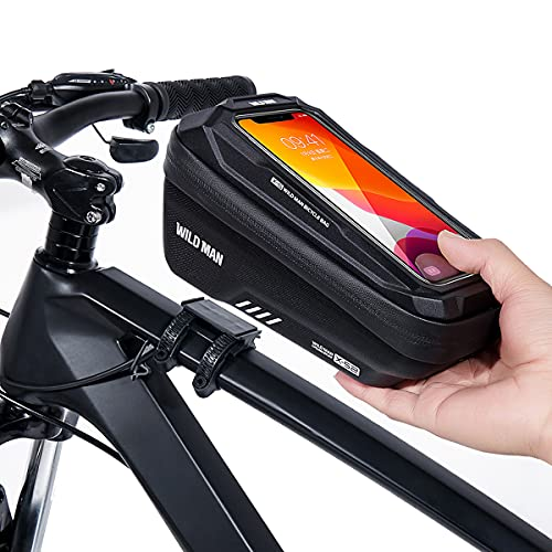 ENONEO Bolsas Bicicleta Manillar Impermeable Bolsa Movil Bicicleta Montaña con Almacenamiento de Gran Capacidad y Cubierta de Lluvia MTB Bolsa Bici Cuadro para Telefono de hasta 6,7 Pulgadas (Negro)