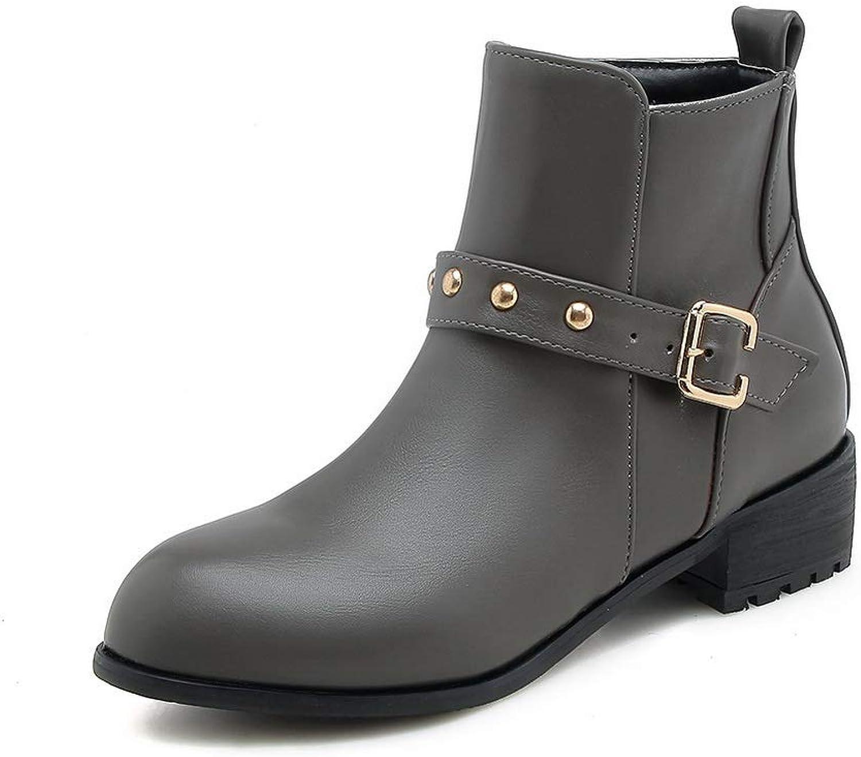 AN Womens Metal Buckles Buckle Urethane Boots DKU02187