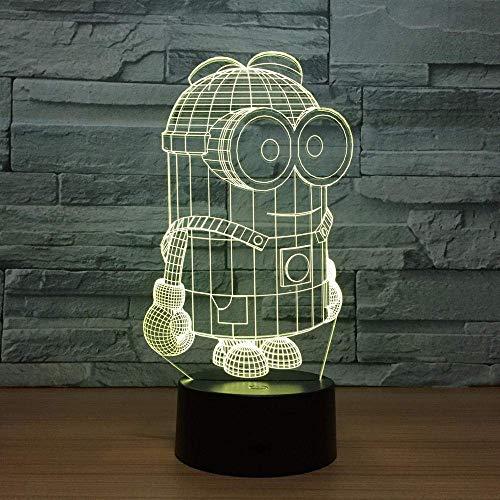 Lámpara de ilusión 3D Luz de noche Led Minions 7 colores Little Yellow Man Lámpara de mesa USB Fútbol Decoración del hogar Dormitorio Minions Sleep