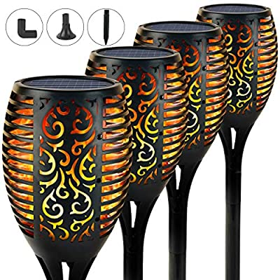 Remoloof Solar Torch Lights Outdoor, Upgraded Waterproof Flickering Flames Torches Lights LED Landscape Lighting Decoration Lighting Dusk to Dawn Auto On/Off for Garden Patio Yard Pathway, 4 Pack