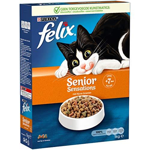 Felix Senior Sensations kattenbrokken met Kip en Groenten - kattenvoer voor katten van 7 jaar ouder 1kg doos x 5 (5kg)