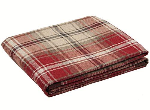 McAlister Textiles Angus | Überwurf im Tartan-Muster 130cm x 200cm in Rot | Decke für Sofa, Bett, Sessel, Picknick, Schottenkaro