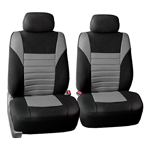 FH Group Gray-Half FB068GRAY102 Universal Front Bucket Seat Cover Set of 2 (Premium 3D Air mesh Design Airbag Compatible)