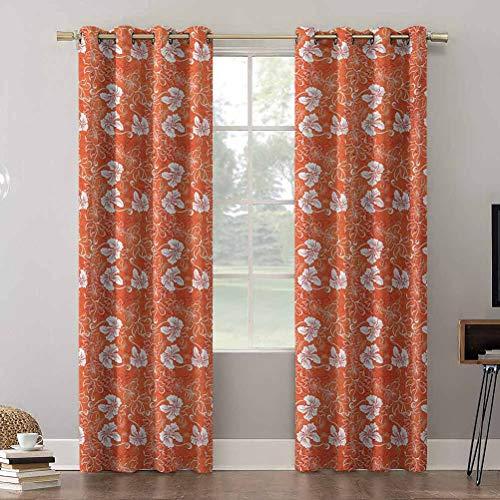 Aishare Store - Cortinas opacas con ojales, diseño de hibisco hawaiano con espirales y curvas en el fondo, 52 x 108 pulgadas, cortinas opacas para habitación infantil (2 paneles)