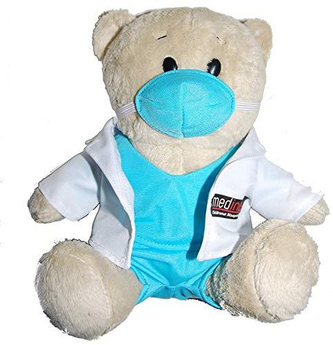 Medinc Arzt Bär. Dr. weißen Mantel mit Scrubs darunter. £1 von jedem Bären, der an das Kinderkrankenhaus gespendet wurde