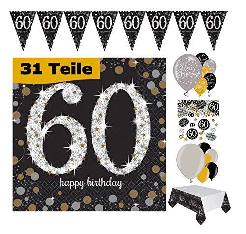 Feste Feiern Geburtstags-Deko 60. Geburtstag 31 Teile Party-Set Luftballon Wimpel Girlande Konfetti Serviette Tischdecke Gold Schwarz Silber metallic Happy Birthday 60