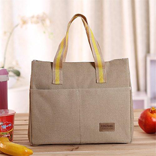 qearly Mode Toile Sac isotherme Sac repas pochette sac de pique-nique sac isotherme Snack pour enfants et adultes de mort Beige