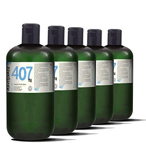 Naissance Castile Seife BIO (Nr. 407) 5 Liter (5 x 1 Liter) | Natürliche BIO zertifizierte unparfümierte Flüssigseife |vegan, frei von SLS und SLES