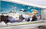 Afashiony Benutzerdefinierte Fototapete 3D Wallpaper Chinese Wind Wonderland Palace Adlerflügel Götter 3D-Fototapete Für Wohnzimmer-144Cmx100Cm
