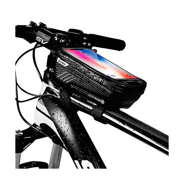 """WILD MAN Bike Phone Mount Bag, Cycling Waterproof Front Frame Top Tube Handlebar Bag with Touch Screen Holder Case for iPhone X XS Max XR 8 7 Plus, for Android/iPhone Cellphones Under 6.5"""""""