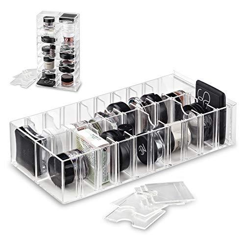 byAlegory Acryl Makeup Stand Organizer met verwijderbare verdelers | 20 Opslagruimte ontworpen om plat te staan en te liggen