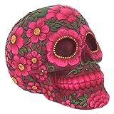 Nemesis Now - Figura con forma de calavera decorativa, diseño de flores, Rojo, 14.5 cm