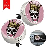 Zinc Alloy Car Essential Oil Diffuser 2 Pack Skull Wear Crown Red Lips