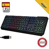 KLIM Chroma - Teclado gaming ESPAÑOL + Teclado USB ligero, duradero, resistente al agua, ergonómico, silencioso + Teclado gamer con cable para PC PS4 Xbox One Mac + NUEVA VERSIÓN 2020 + Negro