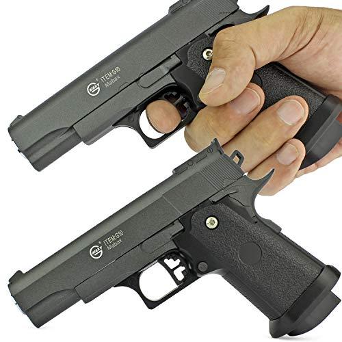 Duell Set - 2X Softair Gun Airsoft Pistole + Munition | G10. Vollmetall | 16cm. Inkl. Magazin & 0,5 Joule