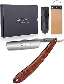 Straight Razor Kit with Strop - Straight Edge Razor Natural Wood Scale – Sharp, High Hardness Carbon Steel Cutthroat Strai...
