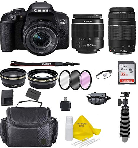 Canon EOS Rebel 800D (T7i) DSLR Camera w/ 18-55mm Lens+ Canon 75-300 Lens with Accessory Bundle, Package Includes: SanDisk 32GB Card + DSLR Bag +Flex Tripod+TopKnotch Cloth (International Model)