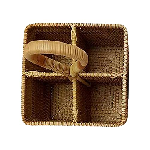 K-Park Canasta colgante de ratán Caja de almacenamiento de mimbre Cestas de frutas tejidas hechas a mano multifuncionales para estantería Organización y almacenamiento apilables Artesanías y enjoyable