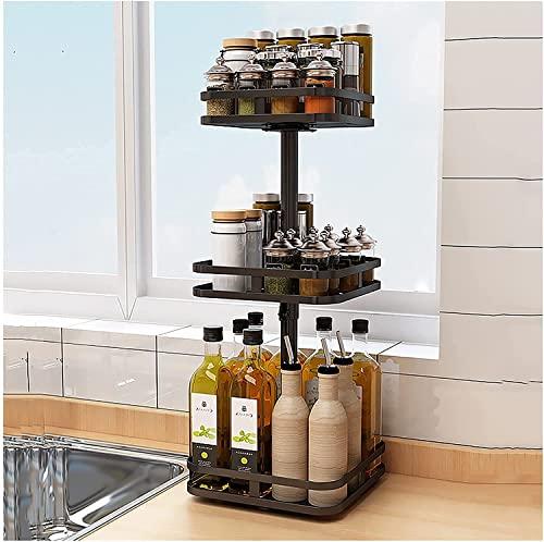 Metalen roterende kruidenrek,3-tier waterdichte en antislip zuignap vaste plantaardige en fruitrek plank keuken…