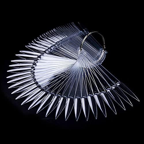 BNG 80 piezas Stiletto Nail Swatch Sticks en forma de abanico Nail Art False...