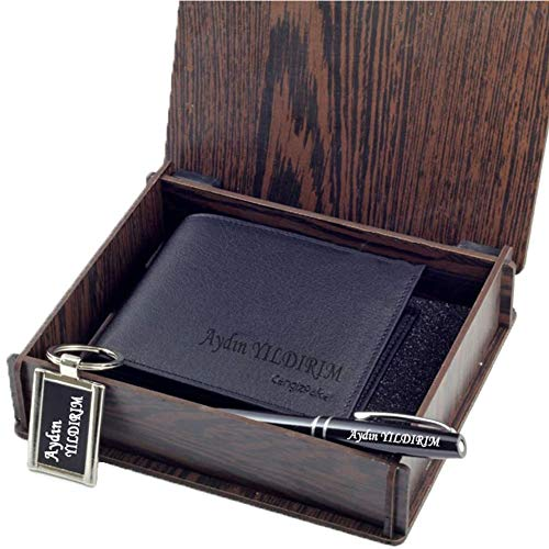 Personalised Leather Wallet Card Holder Pen Keyring Set for Him Husband Father Boyfriend on Anniversary Birthday Father's Day