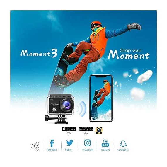 VanTop Moment 3 4K Action Camera w/Gopro Compatible Carrying Case,Remote Control,16MP Sony Sensor,30M Waterproof Camera… 4 【Stunning 4K Technique & Superb Sony Sensor】Optional 4K@30fps, 2.7K@30fps,1080P@60fps,720P@120fps resolutions, high sensitive Sony sensor with improved image focusing, processing speeds. Moment 3 action camera empowers you to capture any memorable moment without any compromise. Stunning 4K video and 16MP photos in Single, Burst and Time Lapse modes. 【Irresistible & Indispensable Accessories】Exclusively customized carrying case for the action camera and accessories: compatible with all Gopro cameras including Gopro HERO 7, Gopro HERO 6. Compact case to keep your action camera-Moment3 and accessories safe, protected and organized. Selected 21 gopro compatible accessories awaits your discovery. (SD Card excluded) 【170°Ultra-Wide Lens & Multiple Modes】Discover a big big world your eyes can reach with the intergraded 170 degrees ultra-wide lens. Burst Shooting, loop recording makes it possible to find the perfect moment afterwards. Time-lapse and slow motion exceed human vision with surprising fun.