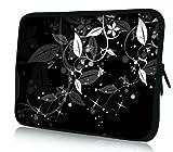 wortek Universal Laptoptasche Schutzhülle Sleeve aus Neopren bis ca. 13,3 Zoll - Ranke Schwarz Weiß 3