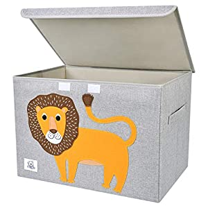 CLCROBD Foldable Large Kids Toy Chest with Flip-Top Lid, Collapsible Fabric Animal Toy Storage Organizer/Bin/Box/Basket/Trunk for Toddler, Children and Baby Nursery (Lion)