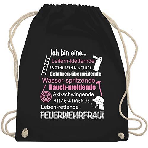 Shirtracer Feuerwehr - Ich bin eine Feuerwehrfrau! - Unisize - Schwarz - feuerwehr tasche - WM110 - Turnbeutel und Stoffbeutel aus Baumwolle