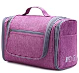 WANDF Toiletry Bags for Traveling Large Hanging Cosmetic Organizer Shower Bathroom Bag for Men Women Water-resistant (purple)