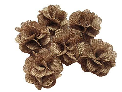 YYCRAFT 15pcs Burlap Flower Roses,3D Fabric Flowers for Headbands Hair Accessory DIY Crafts/Wedding Party Decorations/Scrapbooking Embellishments(2.25) (Tan, About 2.25)