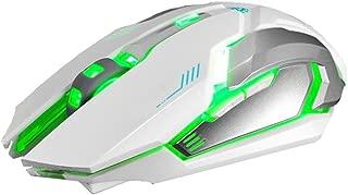 YJM Rechargeable X7 Wireless Mouse,Optical Mobile Wireless ilent LED Backlit USB Optical Ergonomic Gaming Mouse White