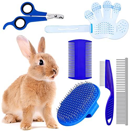 6 Pieces Rabbit Grooming Kit Rabbit Grooming Brush Pet Hair Remover Shampoo Bath Brush with...